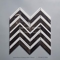 Laurent Brown Mixed Statuary White Marble Chevron Mosaic Tile