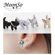 Wholesale Free Sample Multicolor Fashion Clip On Earrings Stainless steel Cat Earring for women AE684