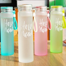 Cheap Portable Frosted Glass Drinking Bottle Water Tube Cup Glass Wholesale Water Bottle
