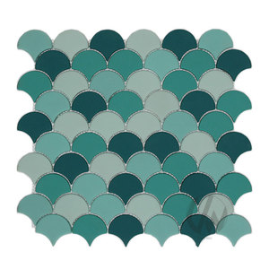 Matte Recycled Glass Kitchen Backsplash Fish Scale Mosaic Tile