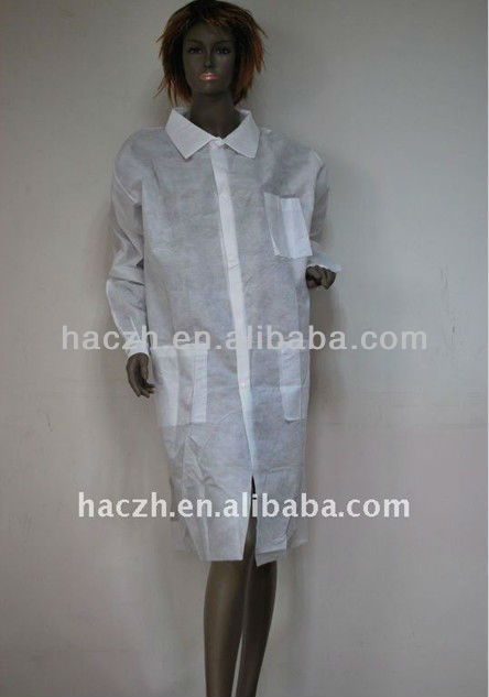 nonwoven double breasted lab coat