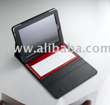 leather case with detachable bluetooth keyboard for ipad2
