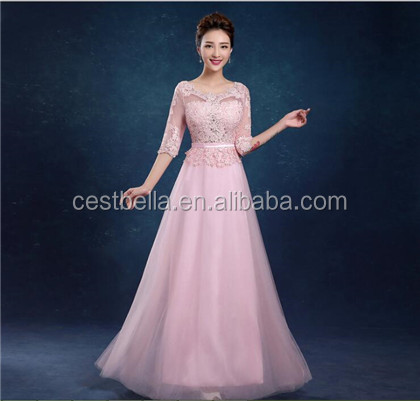 High quality fashion elegant 3 colors long lace evening dresses suit slim fit formal woman wear