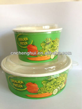 Newly Disposable Paper Container for Salad with Lids