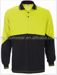 Wholesale Men's 100% Polyester 200gram Hi-Vis <strong>L</strong>/S Polo Shirt