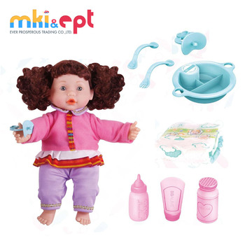 China manufacture wholesale fashion soft plastic 14inches girl baby doll for kids