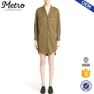 Long Oversize Loose Olive Women Shirts