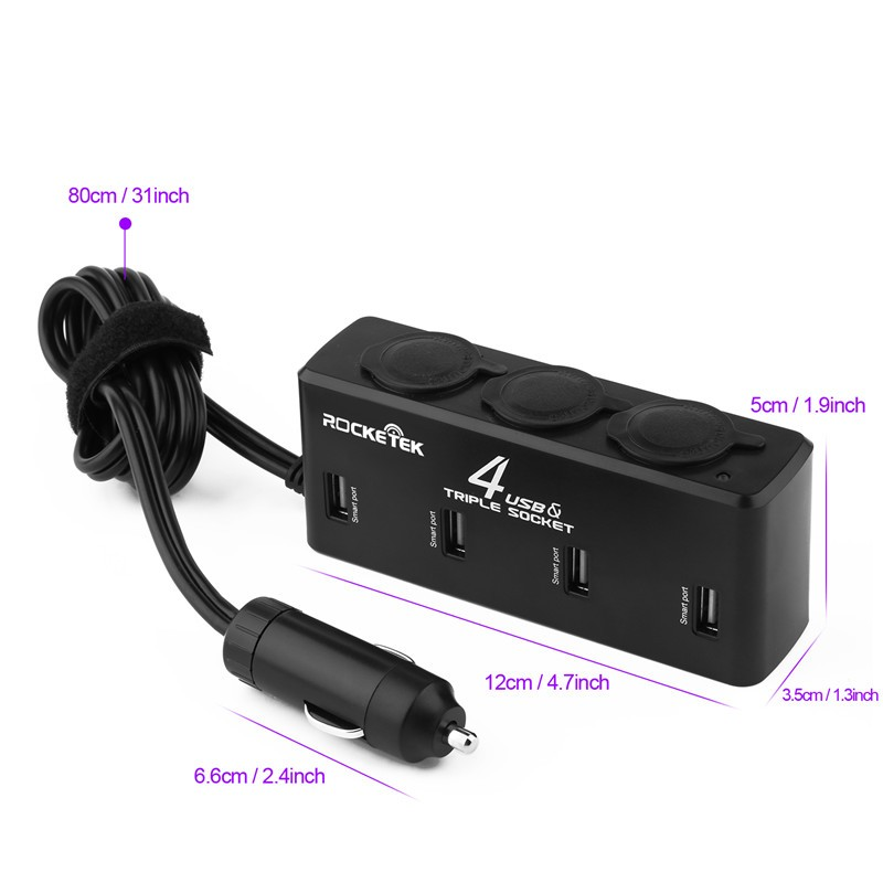 Rocketek Factory price 12V 3 socket car charger cigarette lighter with 4 port usb charger adapter