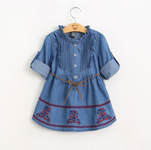 2016 autumn baby denim dress for sweet girls