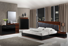 Black Faux leather and zebra finish Bed room furniture sets