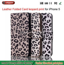 Leopard flip leather case for iphone5 5g Card Holster custom housing for iphone 5 supports Trade Assurance