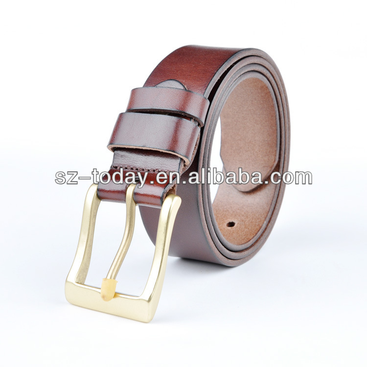 Copper Buckle Leather Belt Brown Pin Buckle Leather Belt