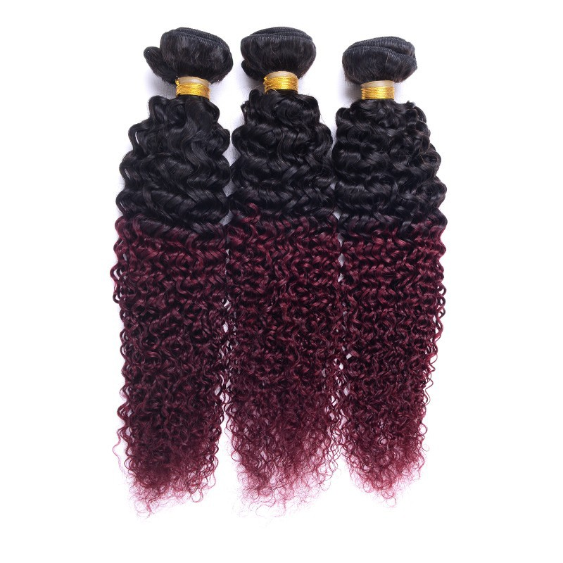 Kinky Curly Human Hair Extension Ombre Color 1B to Burgundy Kinky curl hair weaving on wholesale
