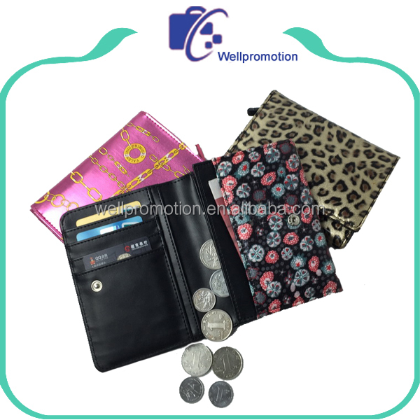 wholesale promotional glossy leather coin holder wallet
