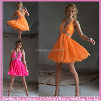 HC2036 Bright orange deep V neckline halter shinny beaded empire waist chiffon sexy low back halter western style party dress