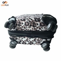 Luckiplus High Elasticity Fabric 350 gms All Zipper Luggage Cover 4 Spinner Wheel Leopard Pattern Customized Luggage Cover