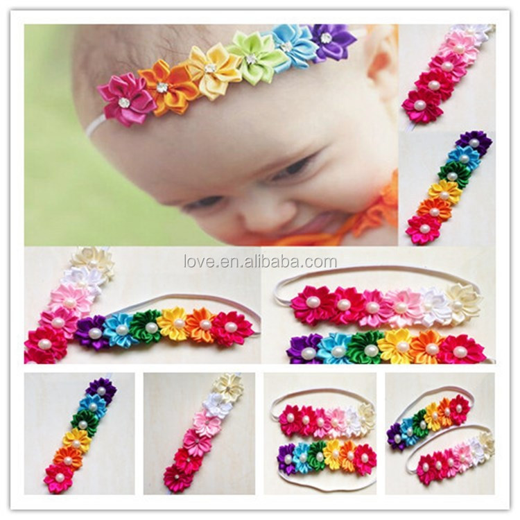 Wholesale Satin Flower Headband For Toddler Baby Girls