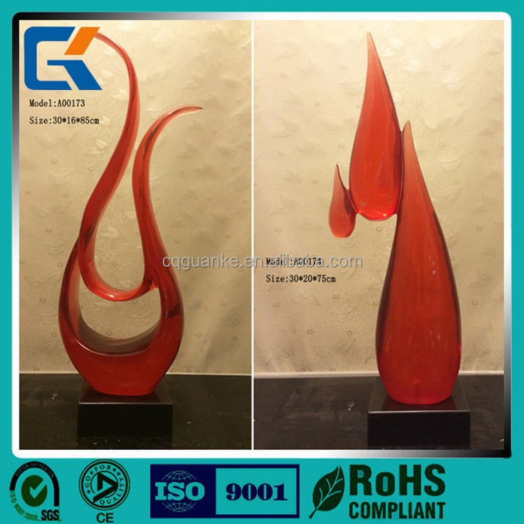 3D polished custom design artificial decorations water drop shaped clear resin craft