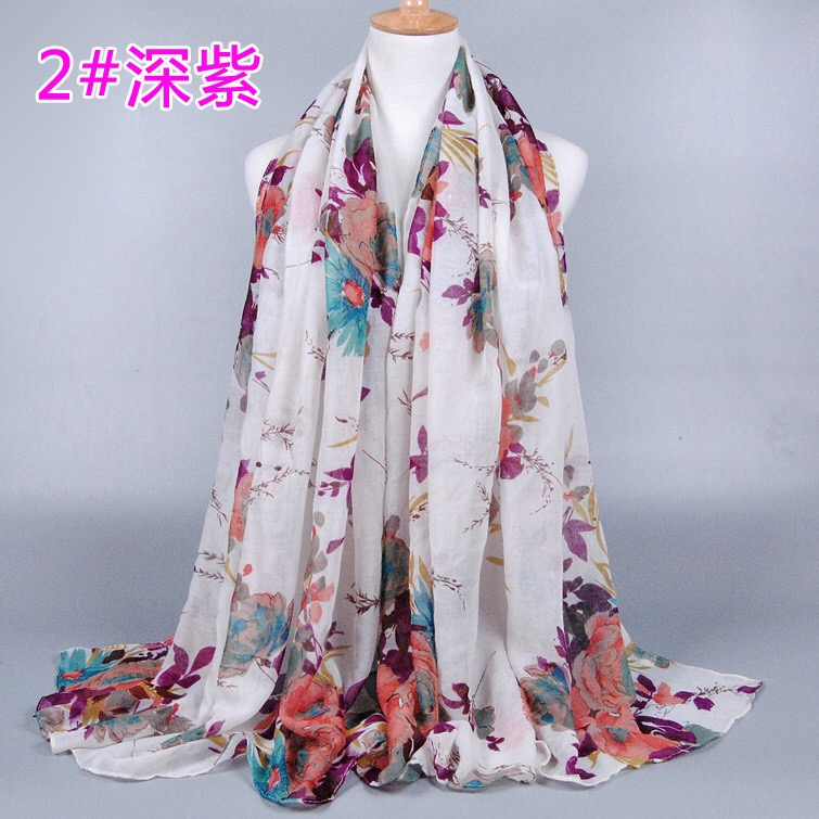 New Style Prints Flower Muffler Scarf muslim wraps viscose hijab wraps long scarf