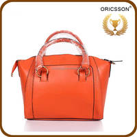 Simple Euro Style Pure Color Pu Leather Tote Shoulder Handbag for Women