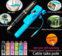 New products 2015 innovative product Pen style mini selfie stick with cable, bluetooth monopod for OS and Android mobile phone