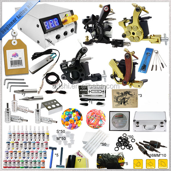 Complete professional 4 guns rotary tattoo machine kit for starter permanent tattoo cosmetic sets