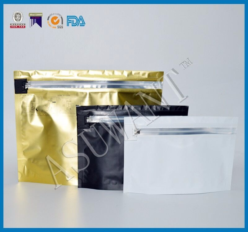 Child Resistant Smell Proof Opaque Mylar Bags With Locked Zipper For Cigarette Medicine Packaging