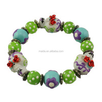 2015 new custom skull beads halloweenb style hand painted bracelet HLW030