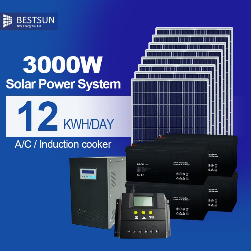 BESTSUN full power solar panel /inverter/battery/controller complete off-grid 3kw home
