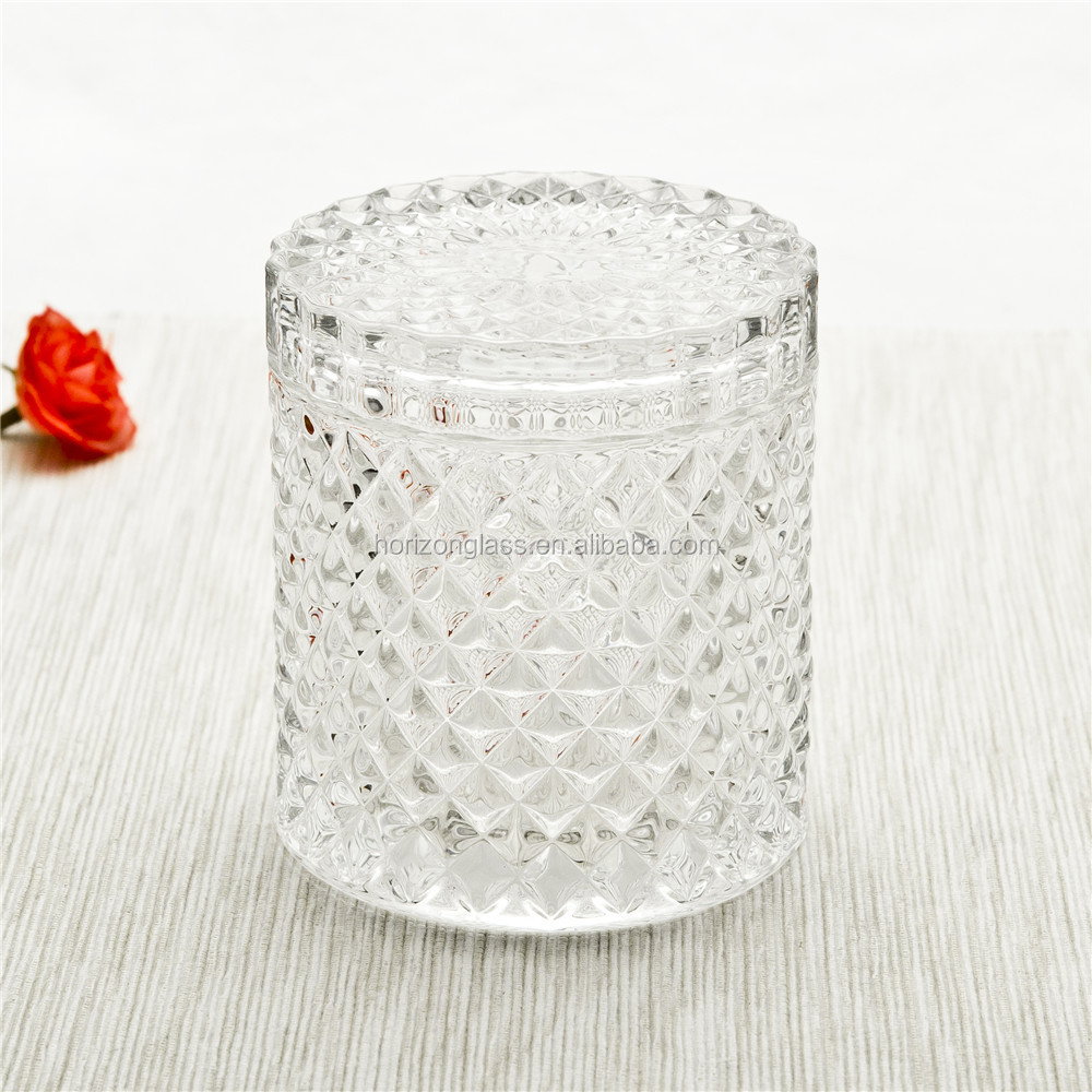 Instock frosted glass candle jar with lid/glass candle jar