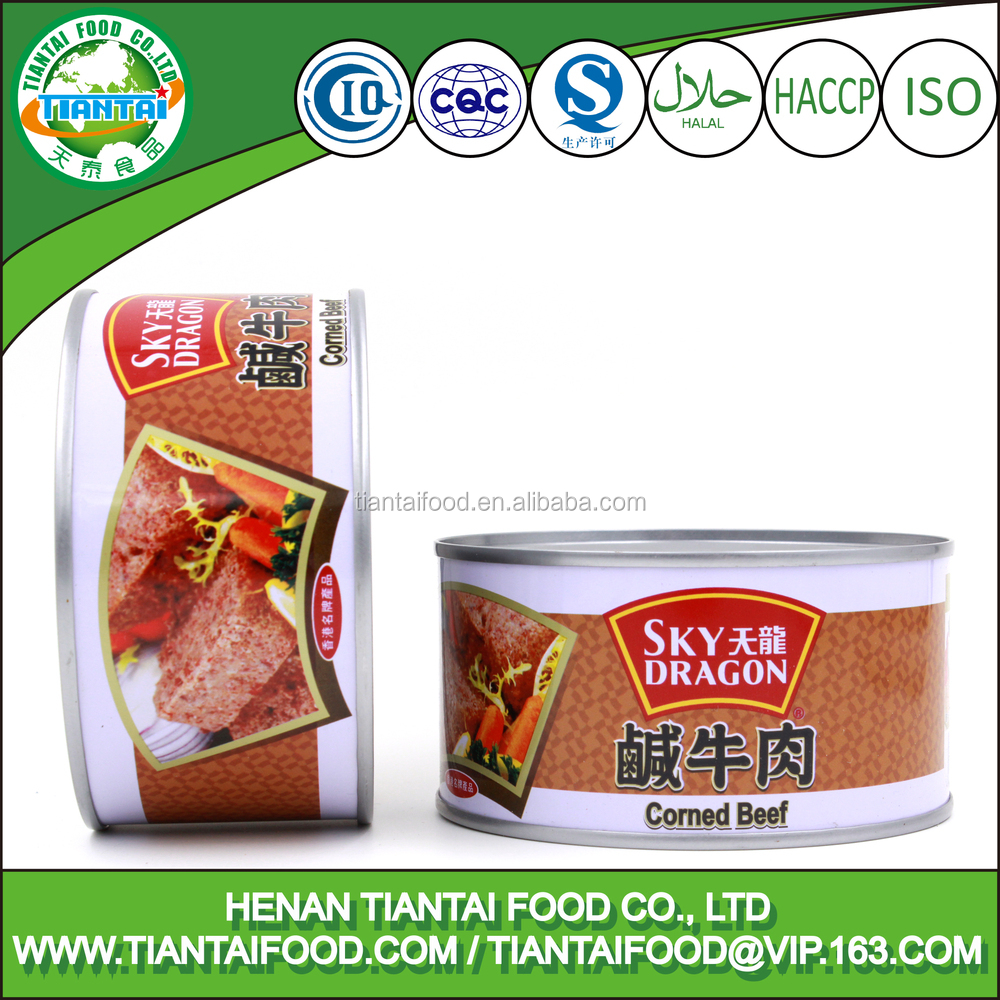 canned halal corned veal meat in tins with easy open lid