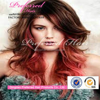 Cosplay long beautiful ombre color synthetic human hair full lace wig with bangs