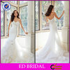 2015 Ivory Mermaid Sweetheart Strapless Beaded Lace Appliqued Organza Wedding Dress with Tiered Chapel Train