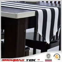 Stock banquet cheap black and white table runners
