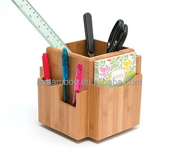 Revolving office accessories Bamboo Desk Organizer