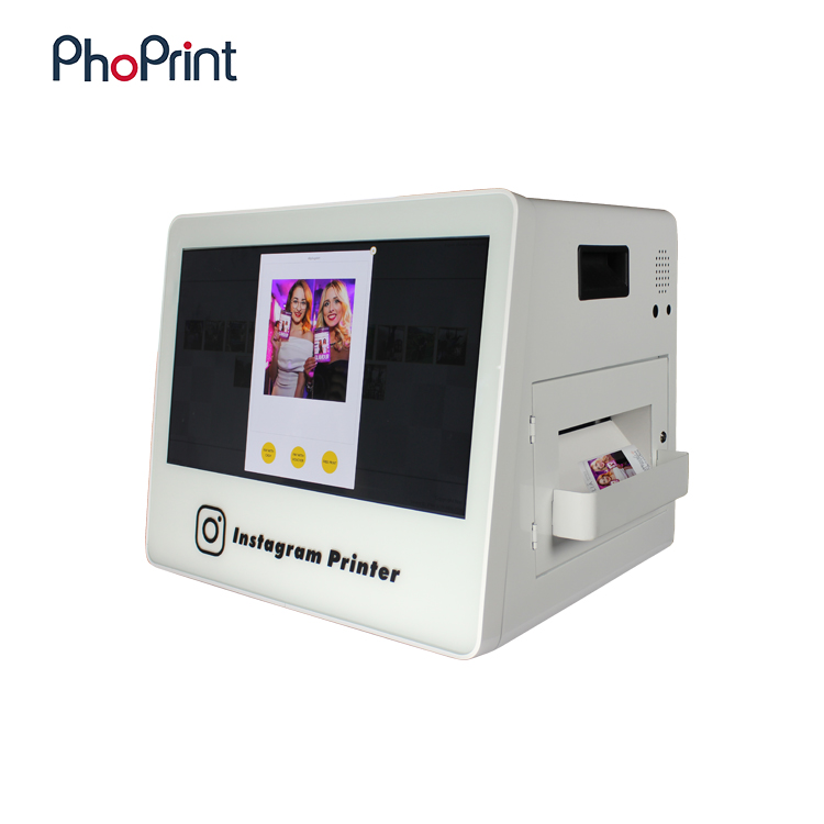 2016 new product 21.5 inch advertising player multimedia photo mall/bar/restaurant vertical insta-gram photo printer kiosks