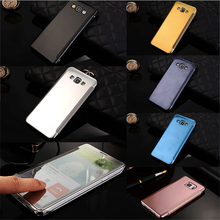 Luxury Electroplating PC PU Dot View Wallet Case For Samsung Galaxy A8 Mirror Flip Cove Case For Samsung Galaxy A8
