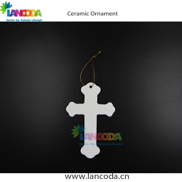 Ceramic Sublimation Cross Ornament Christmas tree decoration