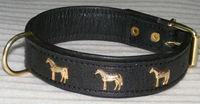 dog collar with horse motif