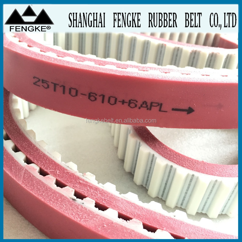 Red PU Coated PU Synchronous Belts(Code T10)