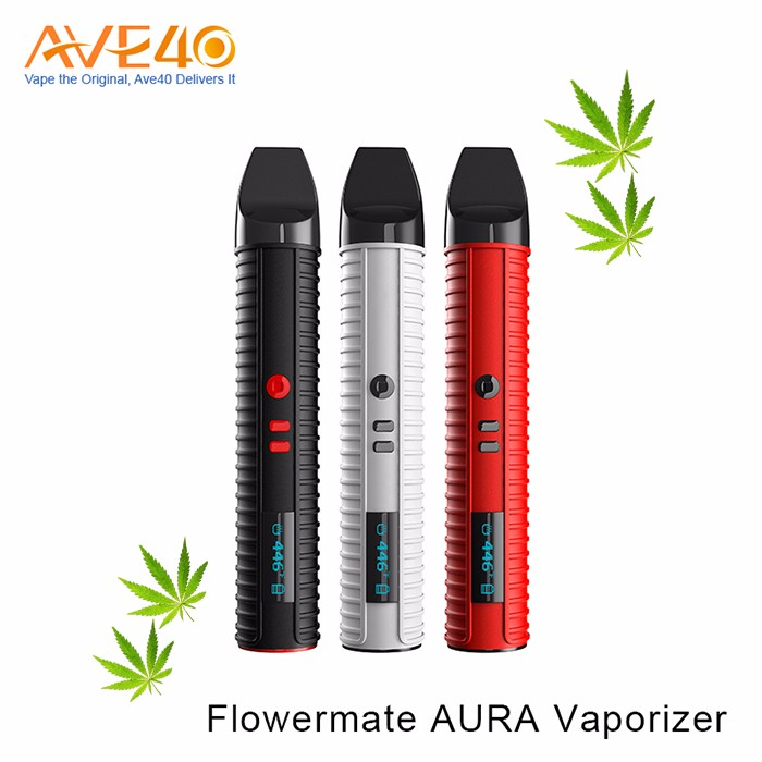 Authantic top selling dry herb /wax pen Flowermate AURA Vaporizer 2600mah And 1.7ml Heating chamber