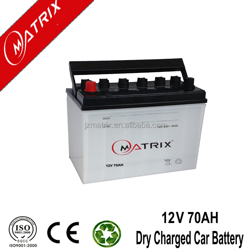 China dry charge 12v 70ah car battery price list