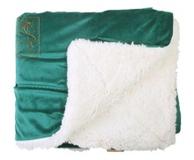 double layer forest green guangzhou direct factory super soft mink blanket high density fleece blanket