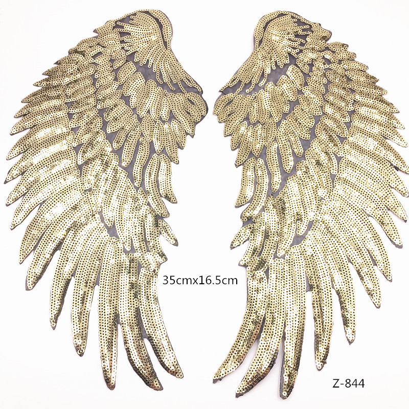 large sequin angel wings patch