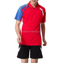 In stock badminton polo shirts maker, men red tennis training jersey design china, 100% dry fit vollleyball jerseys wholesale