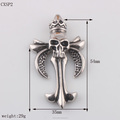 Biker Jewelry Cross Pendant Stainless Steel Skull Pendant