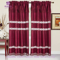 Foral Embroidery Satin Pocket Curtain With guipure For Window