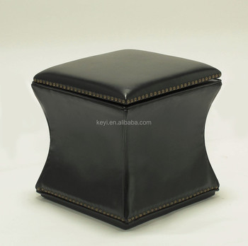 Rivet design Solid birch Material Use black PU Wood Ottoman (KY-1161-R)