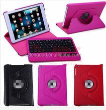 360 Degree Rotatable PU Full Body Case with Stand and Detachable Bluetooth3.0 Keyboard for iPad mini