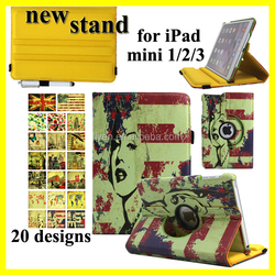 360 Leather Stand Case for iPad mini 1 2 3 Rotating Smart Case Cover for iPad mini 2 Tablet PC wholesale 20 Unique Designs